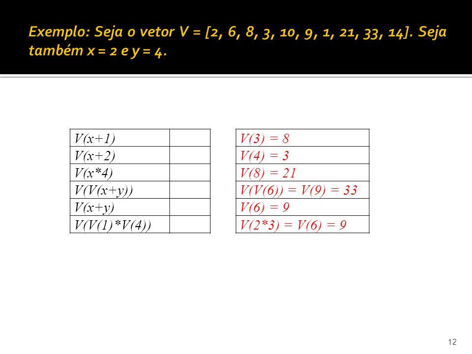 Exemplo: Seja o vetor V = [2, 6, 8, 3, 10, 9, 1, 21, 33, 14]